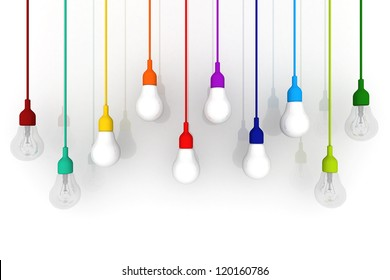3D light bulb colorful Concept on white background