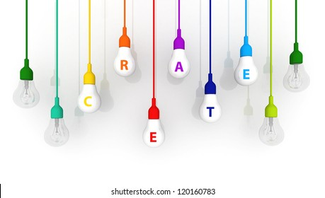 3D light bulb colorful Create Concept on white background