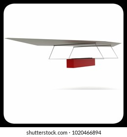 3d light weight plane concept in white isolated background - 3d rendering ,  side angle view