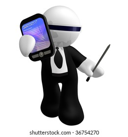 3d little business icon with pda gadget