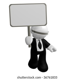 3d little businessman icon with blank message board