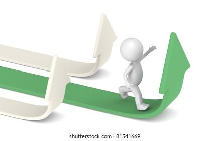 3D little human character Running for Success. Green