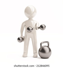 3d little man with dumbbells. Render