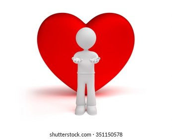 3d little man gives hearts, isolated white background