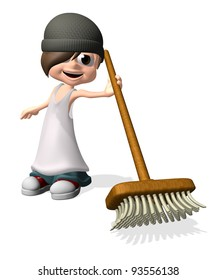 3D little man holding broom