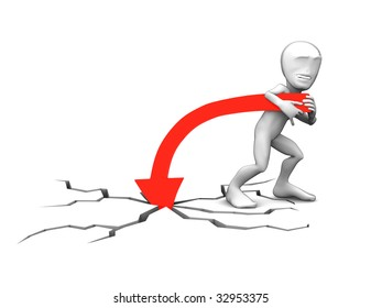 3d little person with red lines on white background