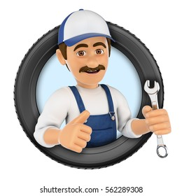 3d logo illustration. Mechanic with wrench and tyre. Isolated white background.