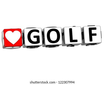 3D Love Golf Button Click Here Block Text over white background