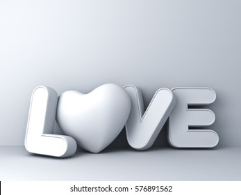 3d love word concept with heart on white background with shadow, valentines day background. 3D rendering.