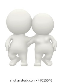 3D loving couple hugging isolated over a white background