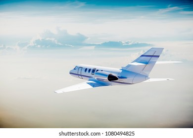 3d luxury private jet in the sky