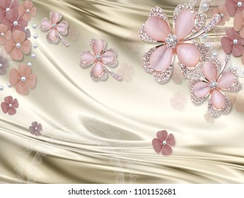 3D Luxury Wallpaper design with floral jewels
