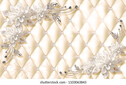 3D Luxury wallpaper design with upholstry and floral jewels