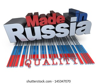 3D made in Russia with Russian flag colors and a bar code marked quality