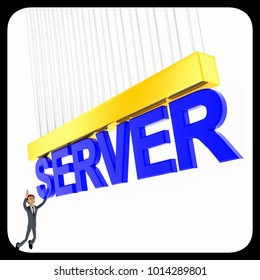3d man about to grab SERVER text concept on white background - 3d rendering , side angle view