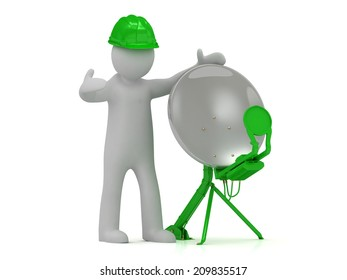 3d man adjuster in an green helmet adjusts the green satellite dish on a white background