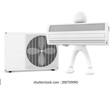 3d man and air conditioning unit on white background