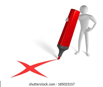 3d man with big marker drawing red x cross sign isolated on white