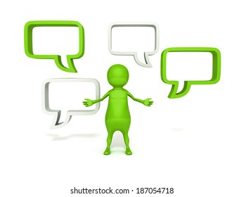 3d  man and blank speech bubbles on white background. dialogue concept 3d render illustration