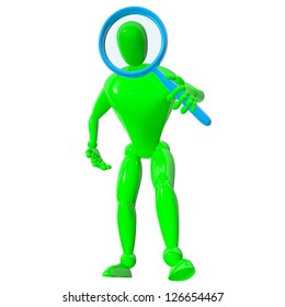 3d man with blue magnifier isolated rendered