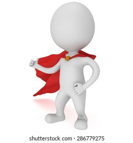 3d man - brave superhero with red cloak show thumbs up. Isolated on white