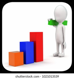 3d man building bar graph from long rectangular cubes concept on white background - 3d rendering , front angle view