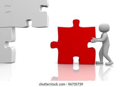 3d man building a 3d puzzle. This is a 3d render illustration