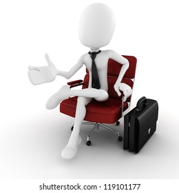 3d man - business man in an arm chair gesturing to imaginary audience in front of him