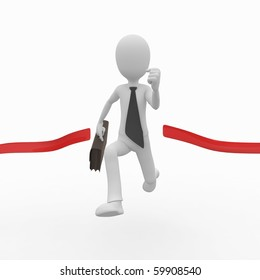3d man business with red finish line