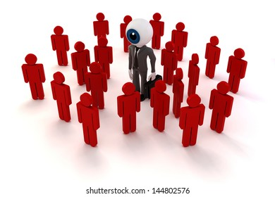 3d man businessman and crowd