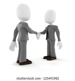3d man businessman hand shake on white background