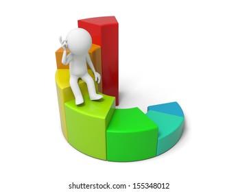 3d man, businessman sitting on colorful business graph