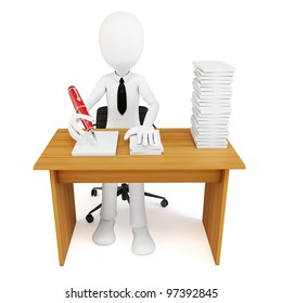 3d man businessman with tons of work to do on white background