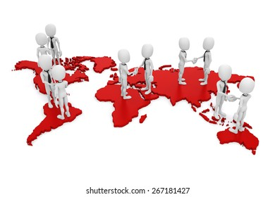 3d man businessman and world map on white background