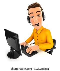 3d man call center, illustration with isolated white background