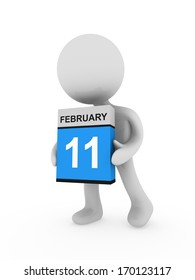 3d man carry a box with February month