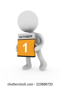 3d man carry a box with October month
