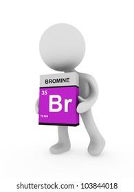 3d man carry a bromine box