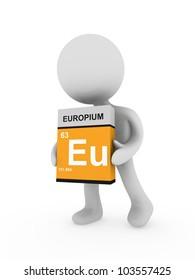 3d man carry a europium box