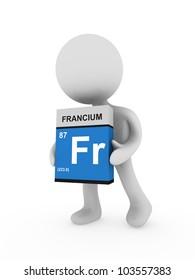 3d man carry a francium box
