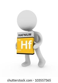 3d man carry a hafnium box