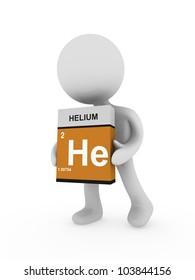 3d man carry a helium box