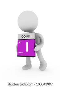 3d man carry a iodine box