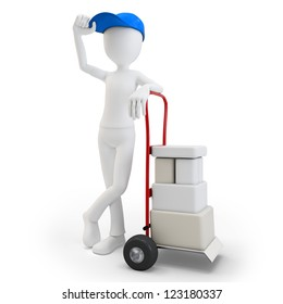 3d man with cart and boxes  on white background