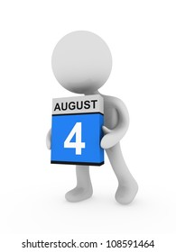 3d man cary a box with august month