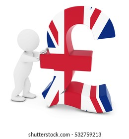 3D Man Character Pushing UK Flag Pound Symbol 3D Illustration