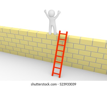3d man climbed on the brick wall. 3d render.
