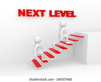 3d man climbs the ladder of next level - 3d render