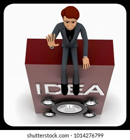 3d man conveying idea through loud speaker concept in white isolted background , top angle view