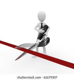 3d man cutting ribbon with scissors isolated on white